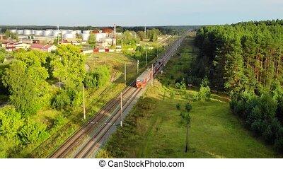 aérien, train électrique, par, rural, dépassement, banlieusard, vue, area.
