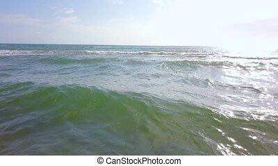 aérien, vagues, sand., encombrements, tordre, côte, enquête, mer, mouillé, partir, approchant