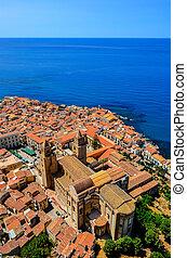aérien, vertical, sicile, cefalu, village, cathédrale, vue