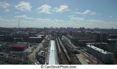 aérien, ville, moscou, travers, courant, train, russie, vue