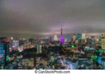 aérien, ville, tokyo, résumé, lumières, bokeh, barbouillage, japon, vue
