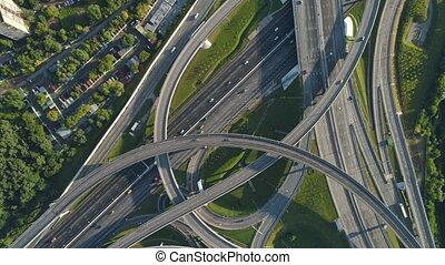 aérien, voitures, complexe, jonction, trafic route