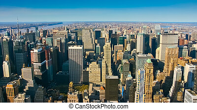 aérien, vue panoramique, sur, supérieur, manhattan