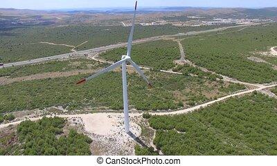 aérien, wind-turbines, vue