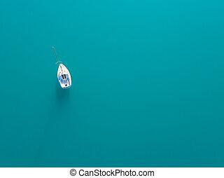 aérien, yacht, eau, seul, azur, sailling, vue