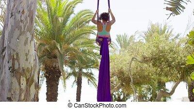 aérobie, pratiquer, femme, yoga, dehors