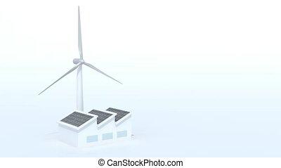 aérogénérateur, panneaux, usine, solaire