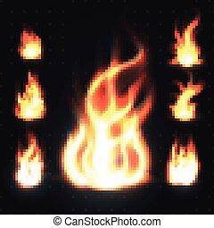 aérolithes, brûler, Flammes, isolé,  Illustration, réaliste, vecteur, fond,  orange,  transparent, rouges