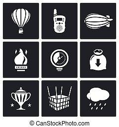 aéronautique, set., vecteur, illustration., icônes