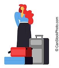 aéroport, attente, vecteur, sacs, femme, passager, bagages
