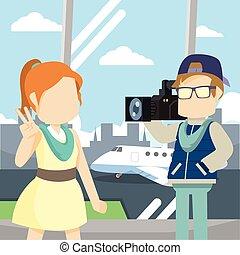 aéroport, célébrité, vestibule