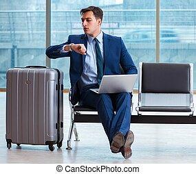 aéroport, cla, attente, business, sien, homme affaires, ...