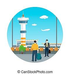 aéroport, concept, tourisme, icône