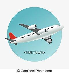 aéroport, concept, voyage, avion, temps