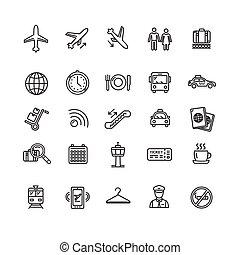 aéroport, contour, icône, set., vecteur