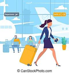 aéroport, départ, voyageurs, secteur