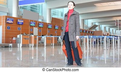 aéroport, femme, salle