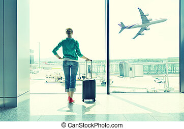 aéroport, fenêtre, girl