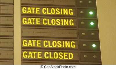 aéroport, fermer, message, portail