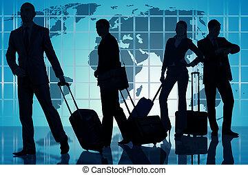 aéroport, gens, bagage