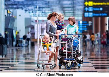 aéroport, gosses, famille