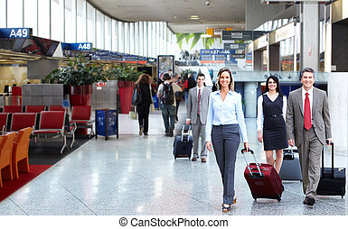 aéroport., groupe, professionnels