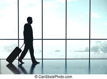 aéroport, homme affaires, marche