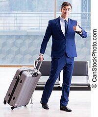 aéroport, homme affaires, sien, cla, avion, business, ...
