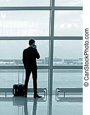 aéroport, homme, bagage
