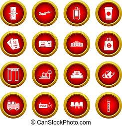 aéroport, icône, rouges, cercle, ensemble
