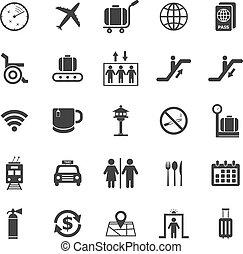 aéroport, icônes, blanc, fond