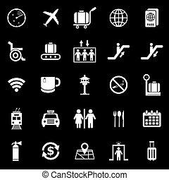 aéroport, icônes, sur, arrière-plan noir