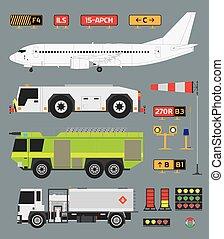 aéroport, infographic, ensemble, camions