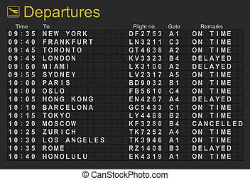 aéroport international, départs, planche