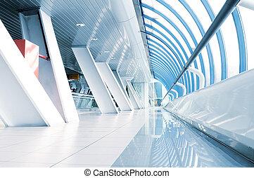 aéroport, long, couloir
