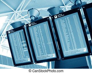 aéroport, panneau départ