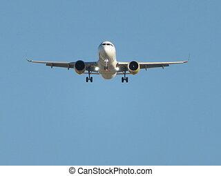aéroport, photo, avion, terre, prendre, beau, atterrissage