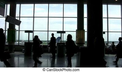 aéroport, plancher, salle, ombre, gens