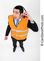aéroport, protection, ouvrier, audition