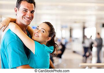 aéroport, réunion, couple, jeune