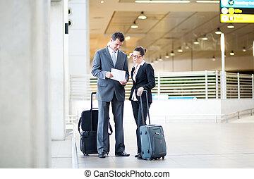 aéroport, réunion, deux, professionnels