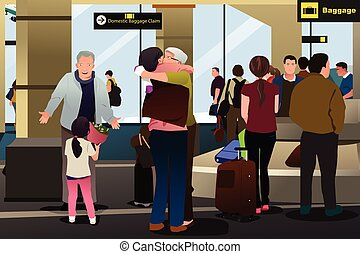 aéroport, réunion, famille