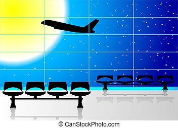 aéroport, salle d'attente