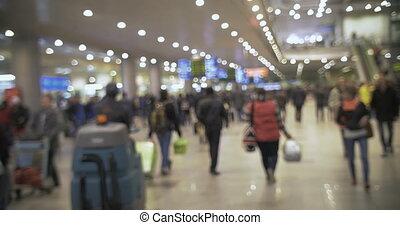 aéroport, salle, foule, gens