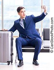 aéroport, sien, cla, business, avion, attente, homme ...