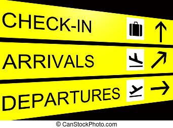 aéroport, signe, arrivées, départ, enregistrer