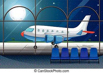 aéroport, stationnement, scène, avion, nuit