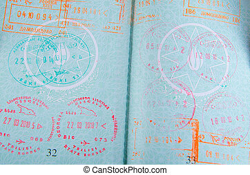 aéroport, timbres, passeport
