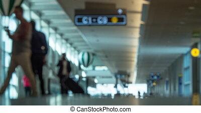 aéroport, timelapse, trafic, salle, gens