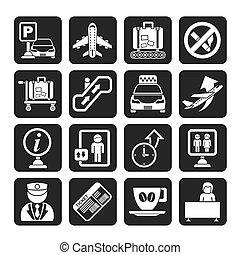 aéroport, transport, icônes